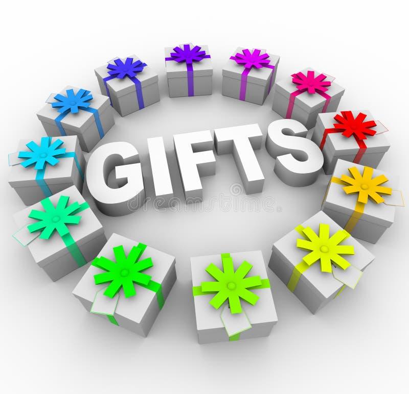 вокруг слова настоящих моментов подарков круга иллюстрация вектора