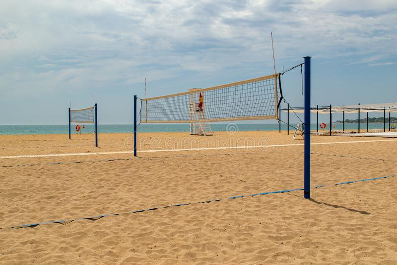 Волейбол пляжа Волейбольное поле на пляже стоковые фотографии rf