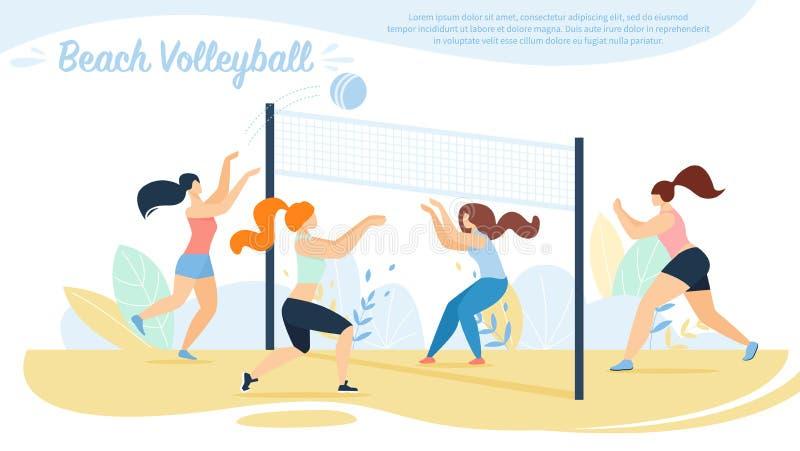 Волейбол пляжа, конкуренция команд спортсменок, бесплатная иллюстрация