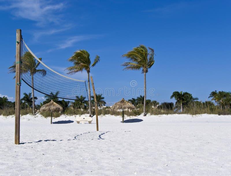 волейбол пляжа сетчатый солнечный стоковые фотографии rf