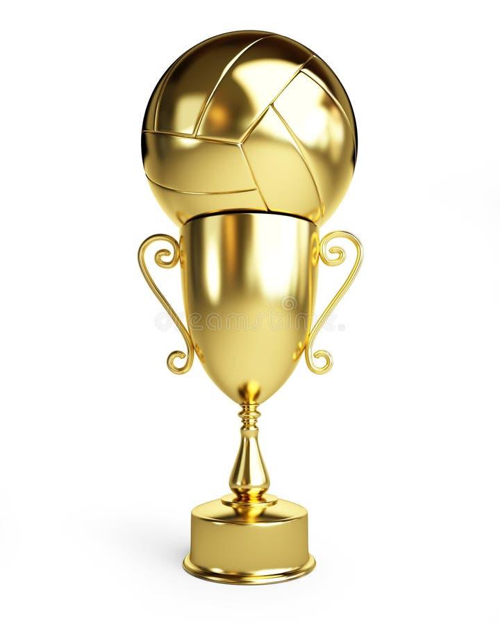 Волейбол чашки трофея золота иллюстрация штока