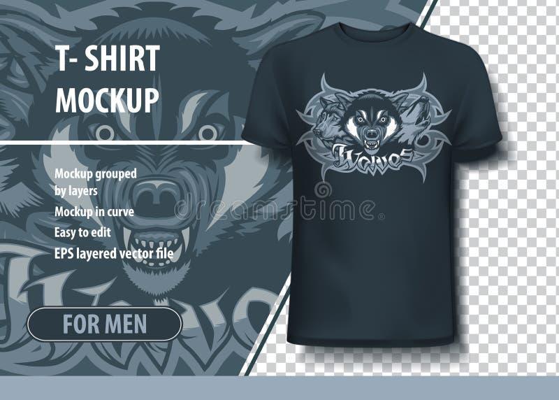 3 волка атакуя, завывая и преследуя Шаблон футболки иллюстрация штока