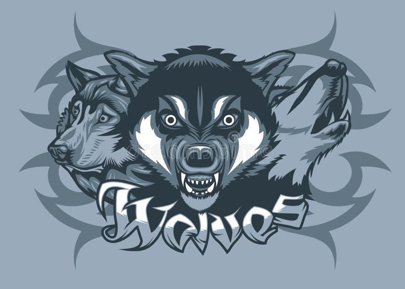 3 волка атакуя, завывая и преследуя иллюстрация штока