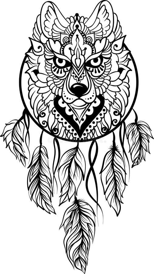 Волк в этническом племенном stile с dreamcatcher бесплатная иллюстрация