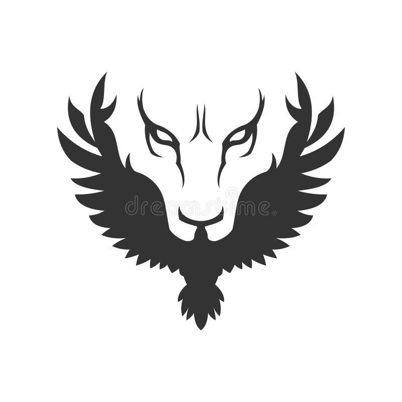 Волк или сторона и птица льва значок стоковое фото rf