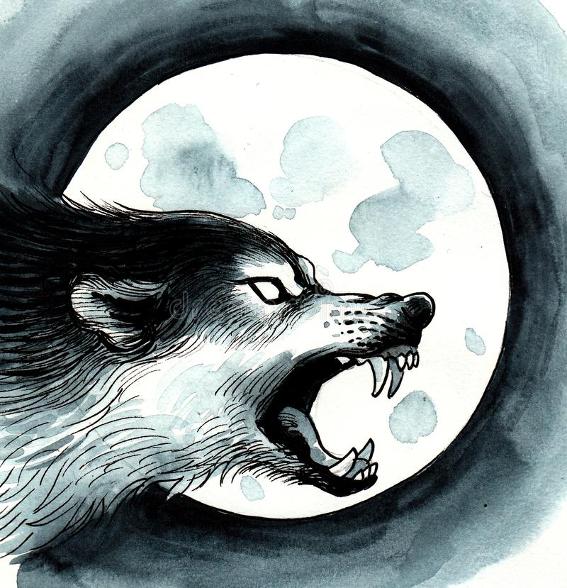 Волк и луна иллюстрация штока