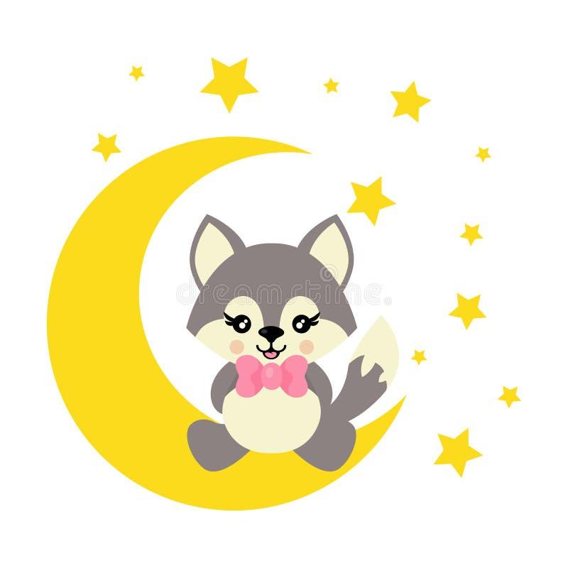 Волк мультфильма милый со связью сидит на луне иллюстрация штока
