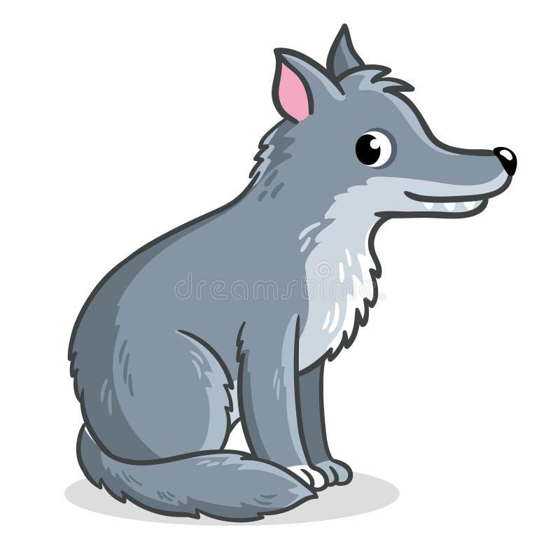 Волк сидит на белой предпосылке r иллюстрация штока