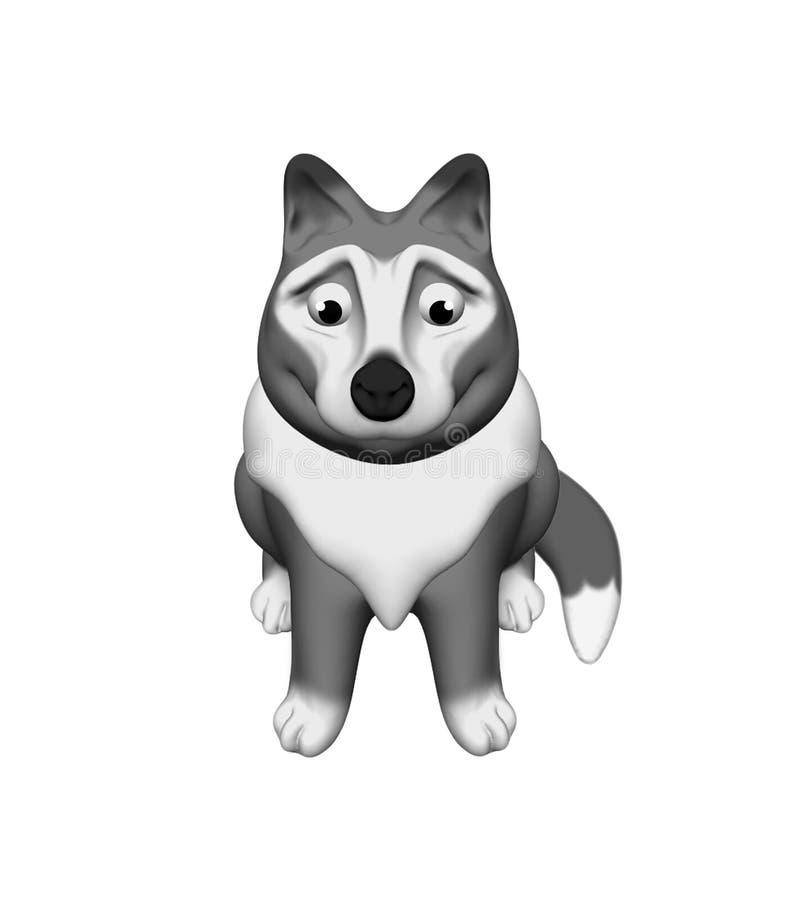 Волк сидит хорошая изолированная иллюстрация 3D на белой предпосылке иллюстрация вектора