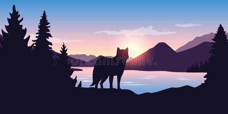 Волк смотрит в расстояние ландшафта горы иллюстрация вектора