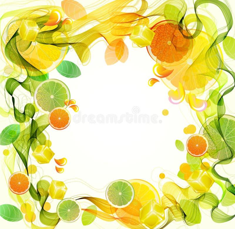 волна выплеска абстрактной известки сока померанцовая иллюстрация штока