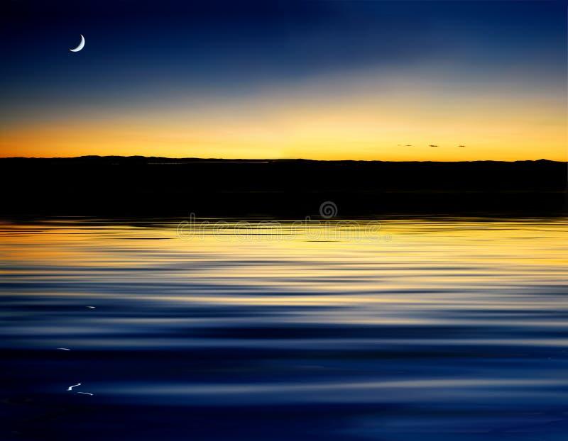 волна захода солнца отражения стоковые фото