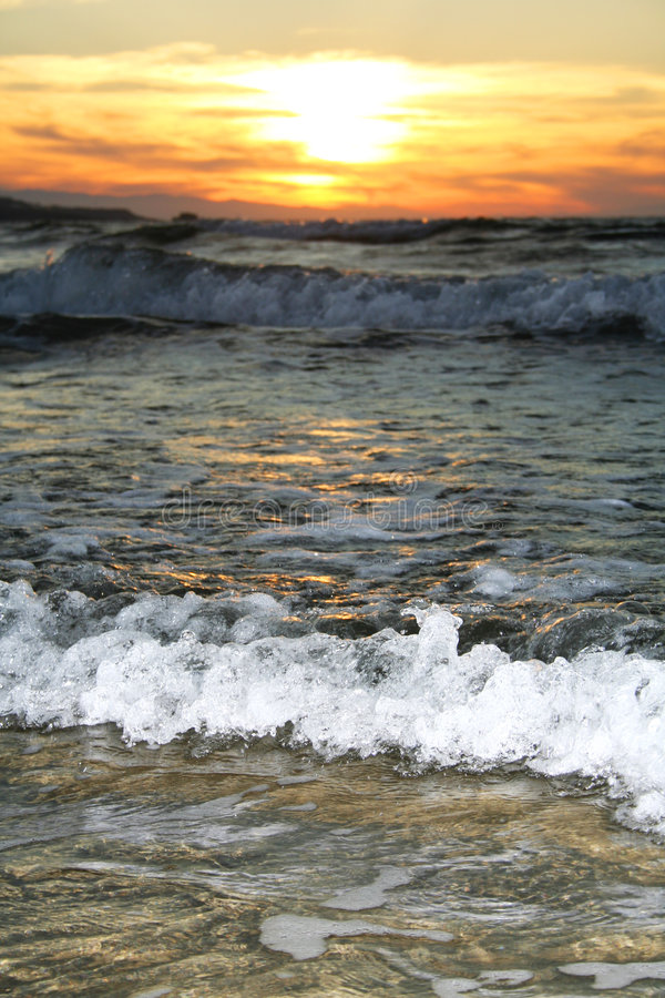 волна захода солнца стоковая фотография rf