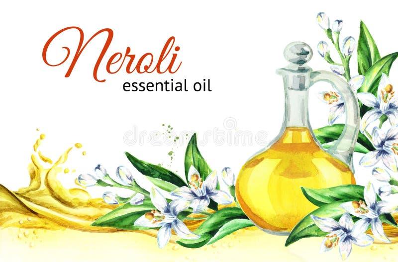 Волна масла Neroli и стеклянная бутылка Иллюстрация акварели нарисованная рукой, изолированная на белой предпосылке иллюстрация штока