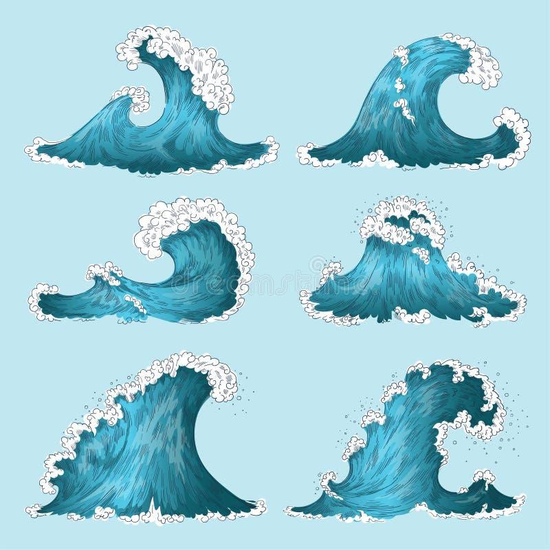 Волна моря руки вычерченная Волны шторма океана эскиза, выплеск морской воды изолировали элементы дизайна Набор волны мультфильма иллюстрация вектора
