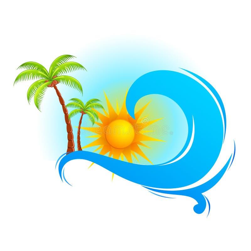 Волна моря с пальмой иллюстрация вектора
