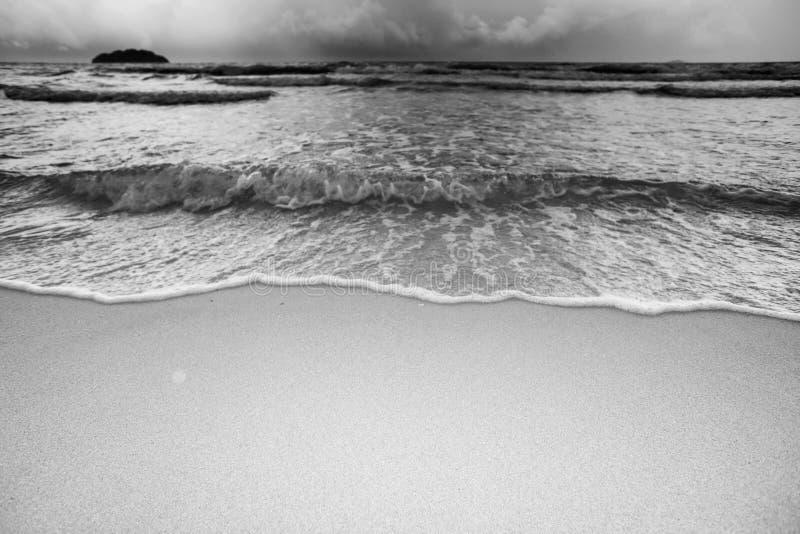 Волна на тоне Monochrome пляжа песка стоковое изображение