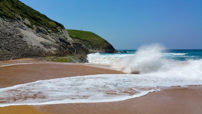 Волна свертывает к seashore стоковые фото