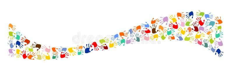 Волна сделанная красочных печатей руки бесплатная иллюстрация