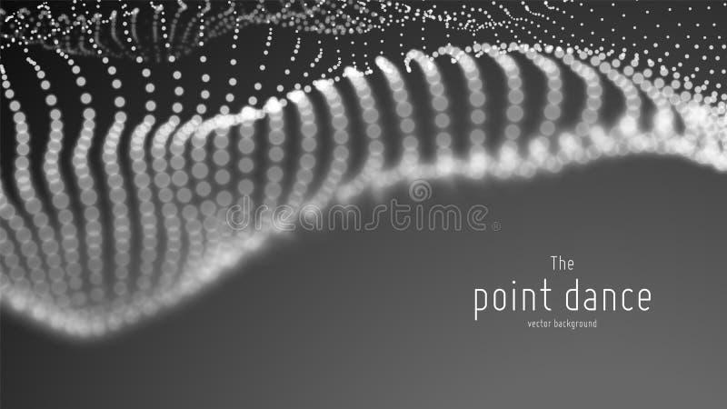 Волна частицы вектора абстрактная monochrome, пункты массив, малая глубина поля футуристическая иллюстрация технология иллюстрация вектора