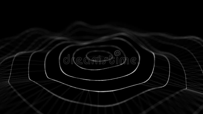 Волна 3d E накаляя абстрактная цифровая предпосылка частиц 3D Иллюстрация технологии данных Большое визуализирование данных иллюстрация вектора