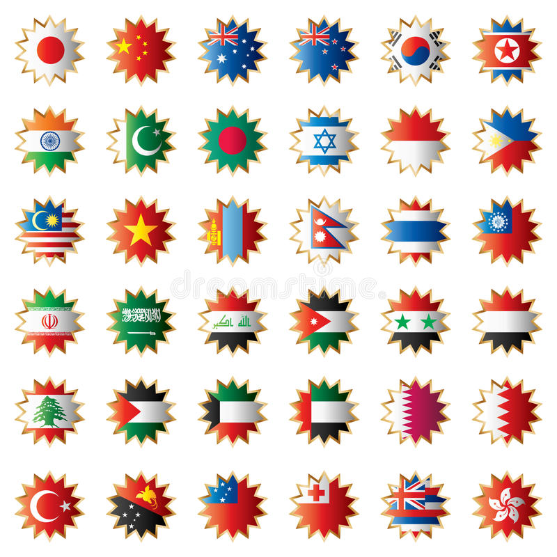 волнистое oceania флагов Азии установленное иллюстрация штока