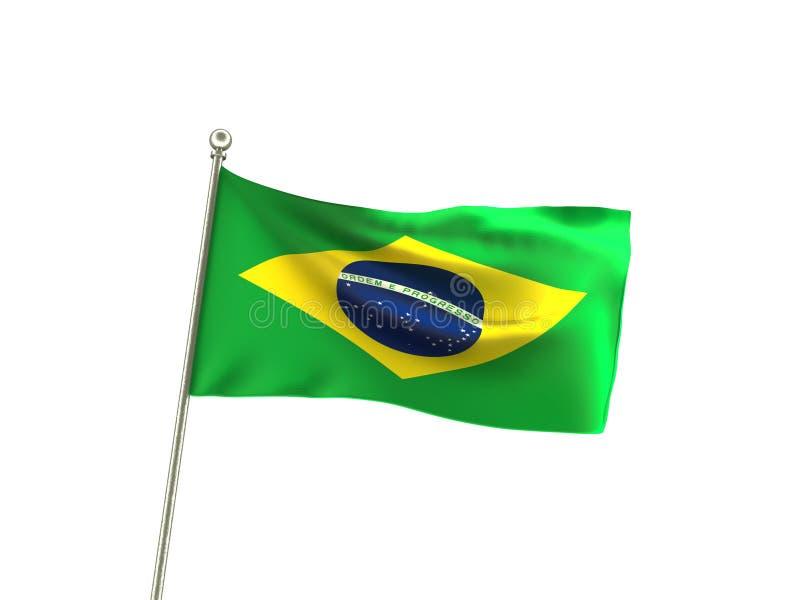 Волнистый флаг Бразилия Бразилии иллюстрация вектора