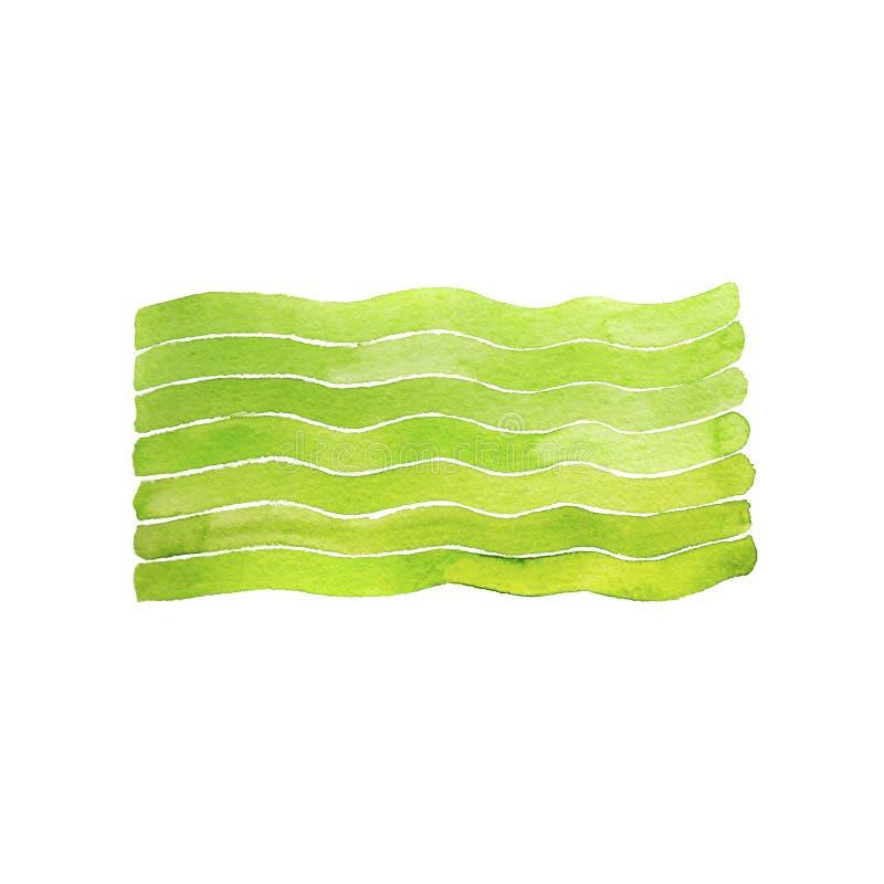 Волны акварели зеленые печатают на белой предпосылке стоковая фотография