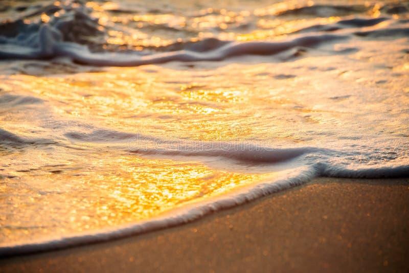 Волны задавливая на пляже стоковые изображения rf