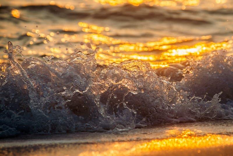 Волны задавливая на пляже стоковое фото rf