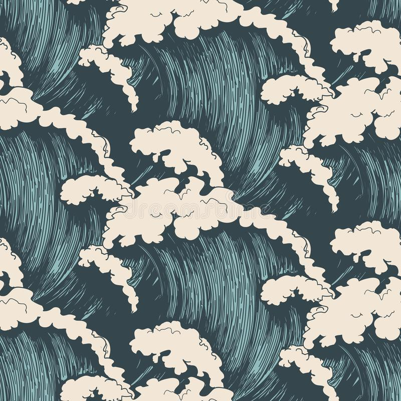 волны картины океана безшовные иллюстрация штока