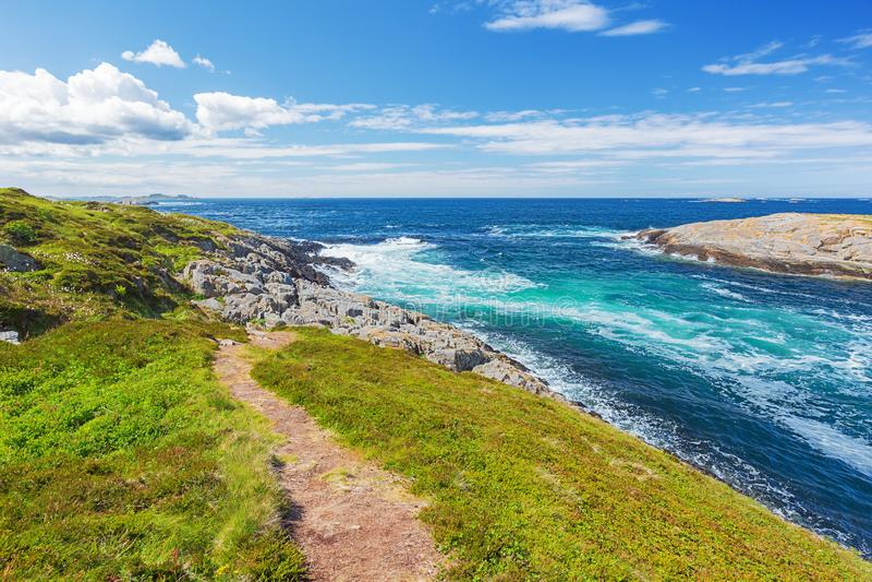 Волны ломая на островах норвежского побережья стоковое фото rf