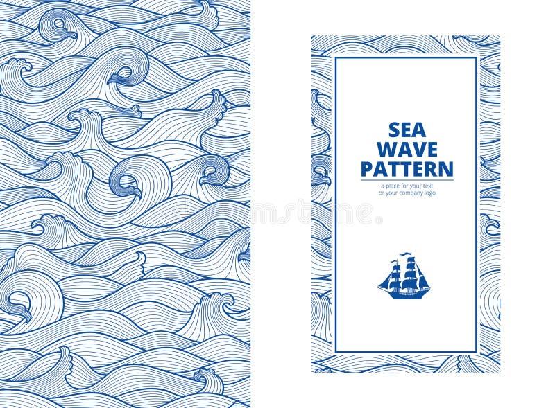Волны моря знамени открытки monotone голубые и корабль иллюстрация штока
