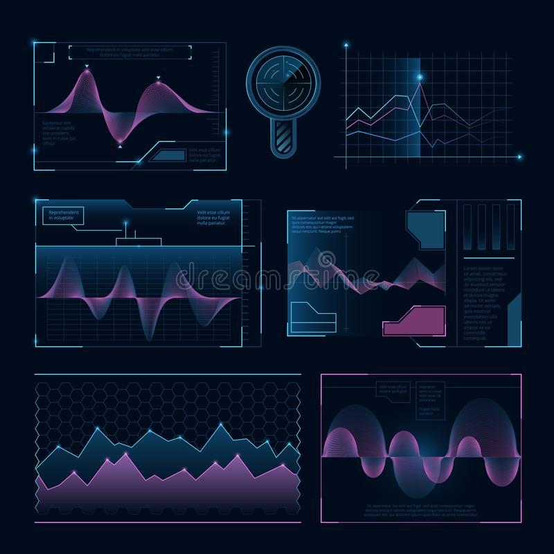 Волны музыки цифров Футуристические элементы hud для пользовательского интерфейса иллюстрация штока
