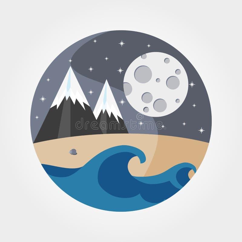 Волны песчаного пляжа, моря, гор и полнолуния иллюстрация штока