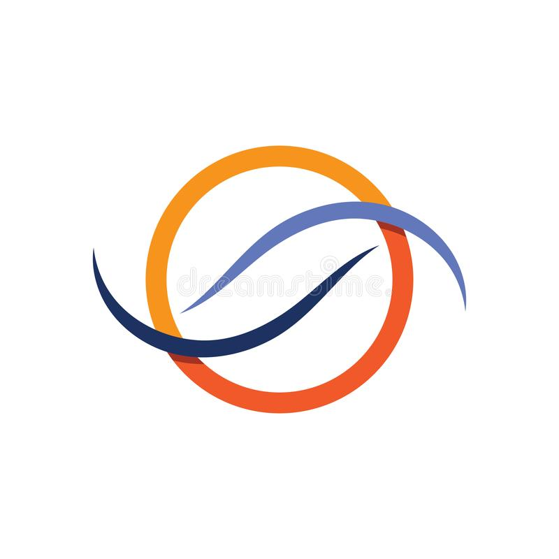 Волны приставают логотип и голубое приложение к берегу значков шаблона символов иллюстрация вектора