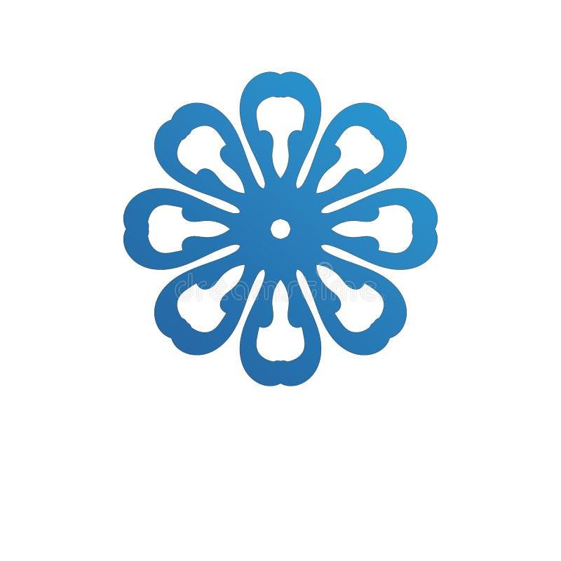Волны приставают логотип и голубое приложение к берегу значков шаблона символов иллюстрация штока
