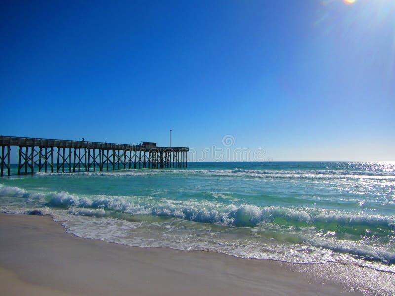 Волны свертывая в пляж около пристани рыбной ловли стоковая фотография