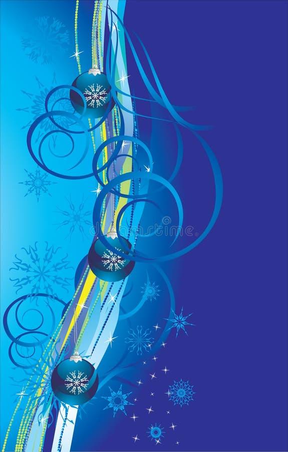 волны снежинок рождества карточки шариков голубые иллюстрация вектора