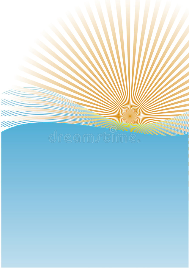 волны солнца иллюстрация вектора