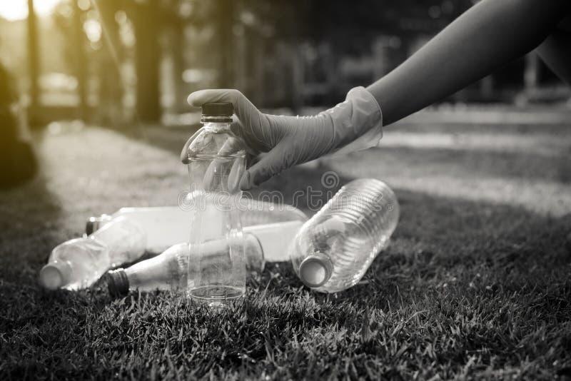 Волонтерская женщина держит пластиковую бутылку на зеленой траве, хороший сознательный ум, избавьтесь от концепции утилизации и у стоковые изображения rf
