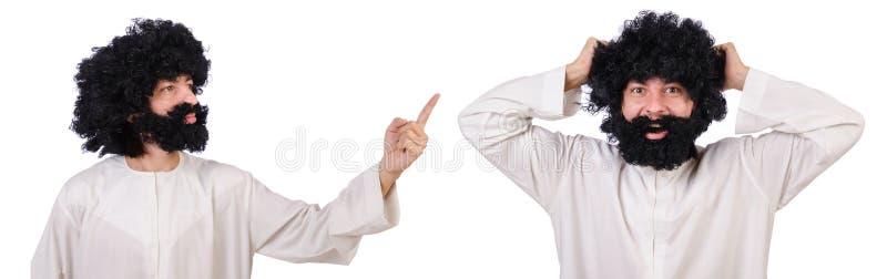 Волосатый смешной человек изолированный на белизне стоковое фото