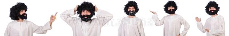 Волосатый смешной человек изолированный на белизне стоковые изображения rf