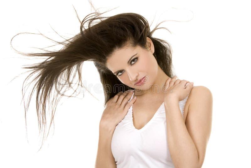 волосы брюнет длинние стоковая фотография rf