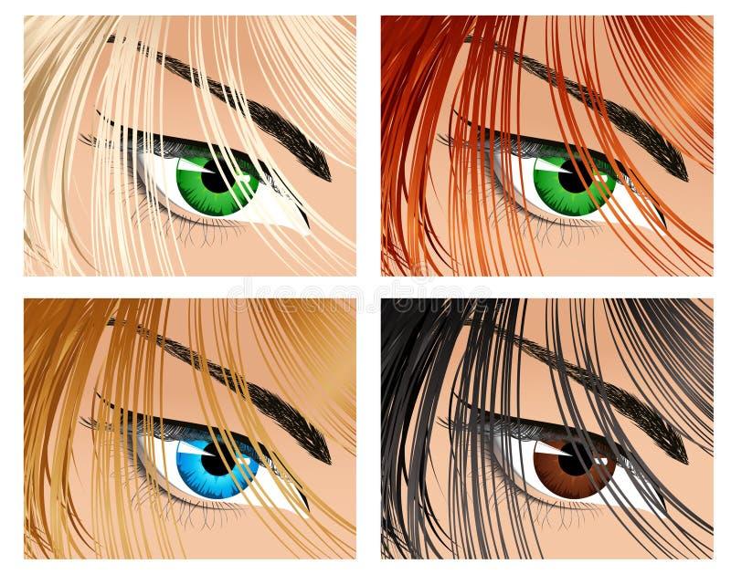 волосы глаза цвета различные смотря вниз бесплатная иллюстрация