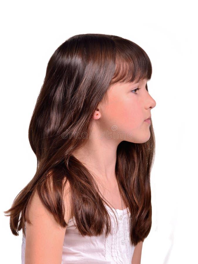 волосы девушки меньший длинний профиль портрета стоковое изображение