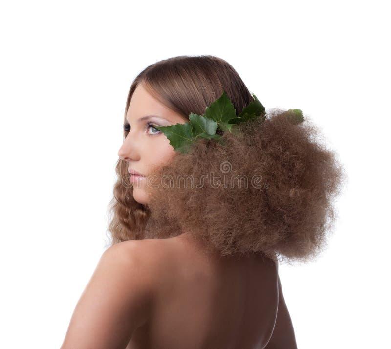 волосы девушки ткани стоцвета прячут нагое стоковая фотография rf