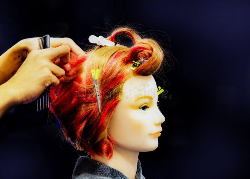 Волосы крася, стили причесок на фиктивной голове парикмахерской стоковое фото rf