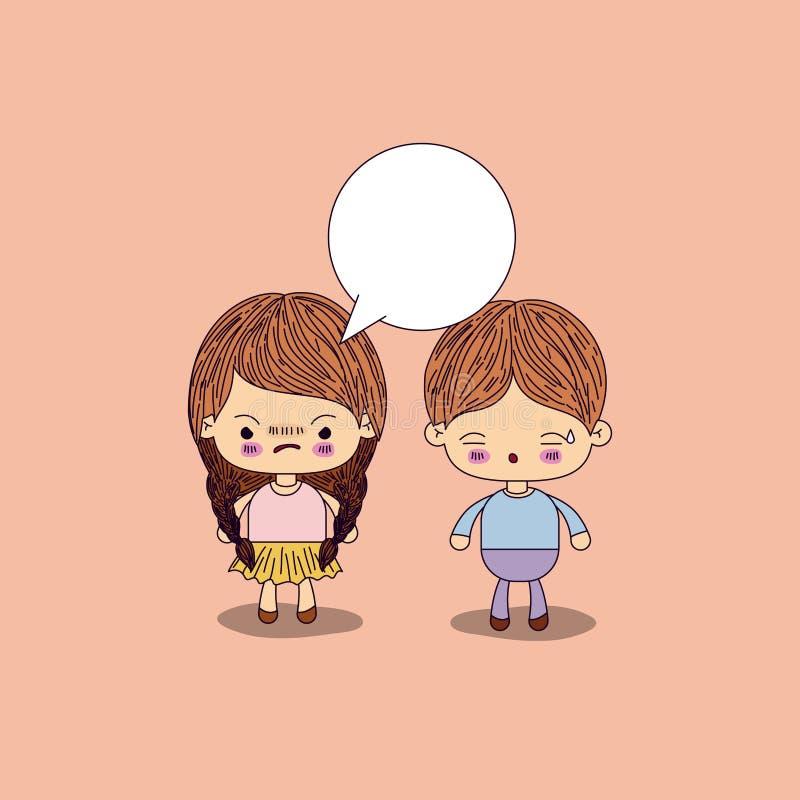 Волосы оплеток девушки бежевой предпосылки цвета сердитые с диалоговым окно и мальчиком потревожились иллюстрация вектора