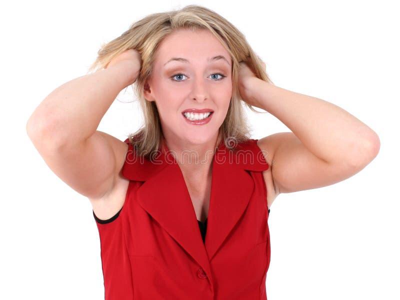 волосы расстроенные делом вне вытягивают женщину стоковые изображения rf